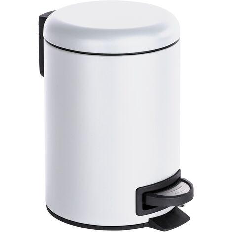 Kosmetikeimer 3 L Mülleimer Abfalleimer Treteimer Eimer Bad Weiß Gäste-WC