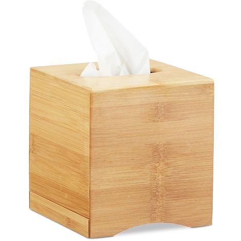 Kosmetiktücherbox quadratisch, Taschentuchbox Holz, Kosmetikbox Bambus, HxBxT: 15,5 x 14,5 x 14,5 cm, natur
