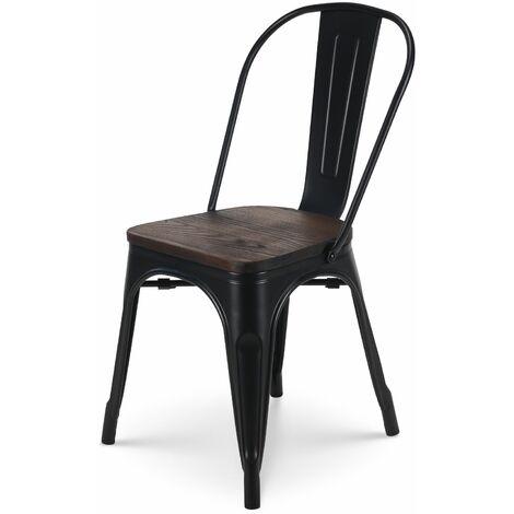 KOSMI - Chaise en métal noir mat avec assise en bois massif foncé, pour une décoration style industriel