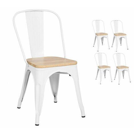KOSMI - Lot de 4 chaises blanches style industriel avec assise en bois naturel clair, finition gloss brillant