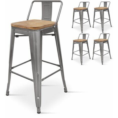 KOSMI - Lot de 4 chaises de bar, tabouret haut style industriel avec petit dossier en métal brut aspect galvanisé et assise en bois naturel clair