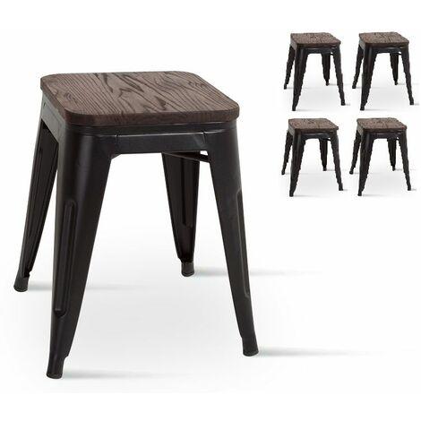 KOSMI - Lot de 4 petits tabourets en métal noir et bois foncé