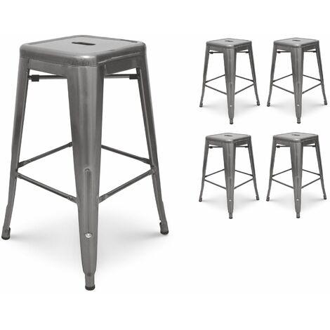 KOSMI - Lot de 4 Tabourets de bar en métal brut, aspect galvanisé, Tabouret haut hauteur 76cm parfait pour table de 100 cm et plus
