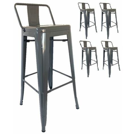 KOSMI - Lot de 4 tabourets de bar en métal gris avec petit dossier, chaises de bar Tabouret métal hauteur 76cm parfait pour un mange debout ou une table haute