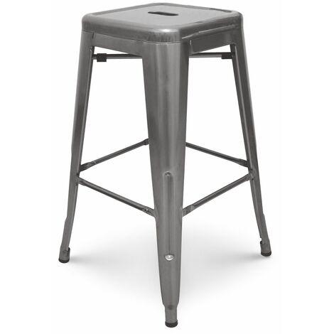 KOSMI - Tabouret de bar en métal brut, aspect galvanisé, Tabouret haut hauteur 76cm parfait pour table de 100 cm et plus