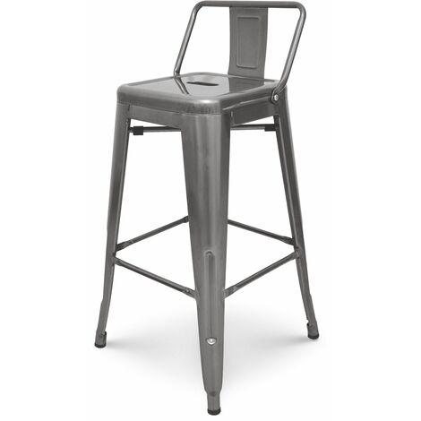KOSMI - Tabouret de bar en métal brut avec petit dossier, chaise de bar Tabouret métal hauteur 66cm parfait pour plan de travail de cuisine de 90 cm environ, finition aspect galvanisé