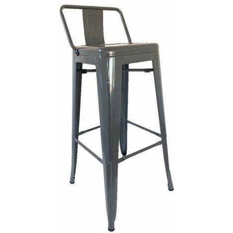 KOSMI - Tabouret de bar en métal gris avec petit dossier, chaise de bar Tabouret métal hauteur 76cm parfait pour un mange debout ou une table haute