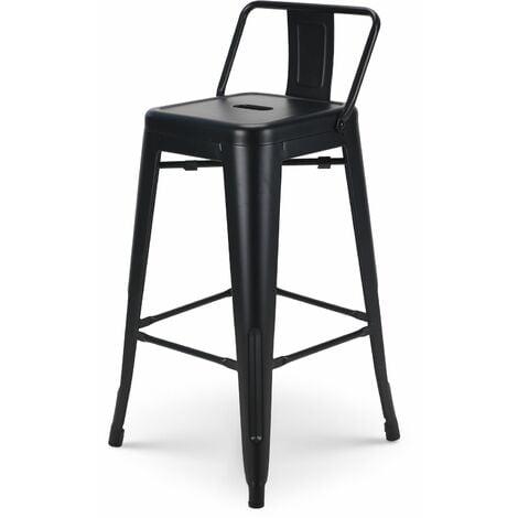 KOSMI - Tabouret de bar en métal noir mat avec petit dossier, chaise de bar Tabouret métal hauteur 66cm parfait pour table de 90 cm