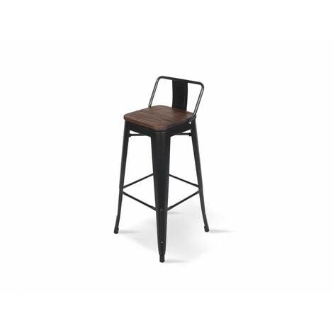 KOSMI - Tabouret de bar en métal noir mat et assise en bois foncé avec dossier, chaise de bar Tabouret métal et bois haut hauteur 66cm idéal pour une table de 90cm