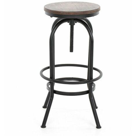 KOSMI - Tabouret de bar en métal noir mat et assise en bois foncé, Tabouret à vis pour hauteur ajustable, hauteur réglable de 65 à 85cm