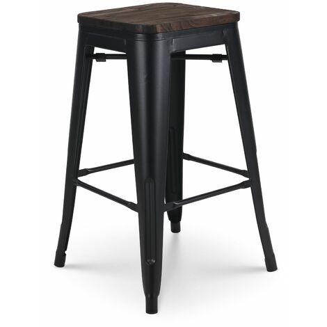 KOSMI - Tabouret de bar en métal noir mat et assise en bois foncé, Tabouret métal et bois haut hauteur 66cm idéal pour une table de 90cm