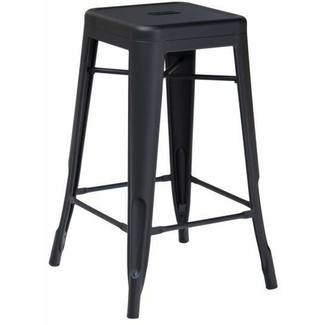 KOSMI - Tabouret de bar en métal noir mat, Tabouret moyen hauteur 66cm idéal pour une table de 90cm