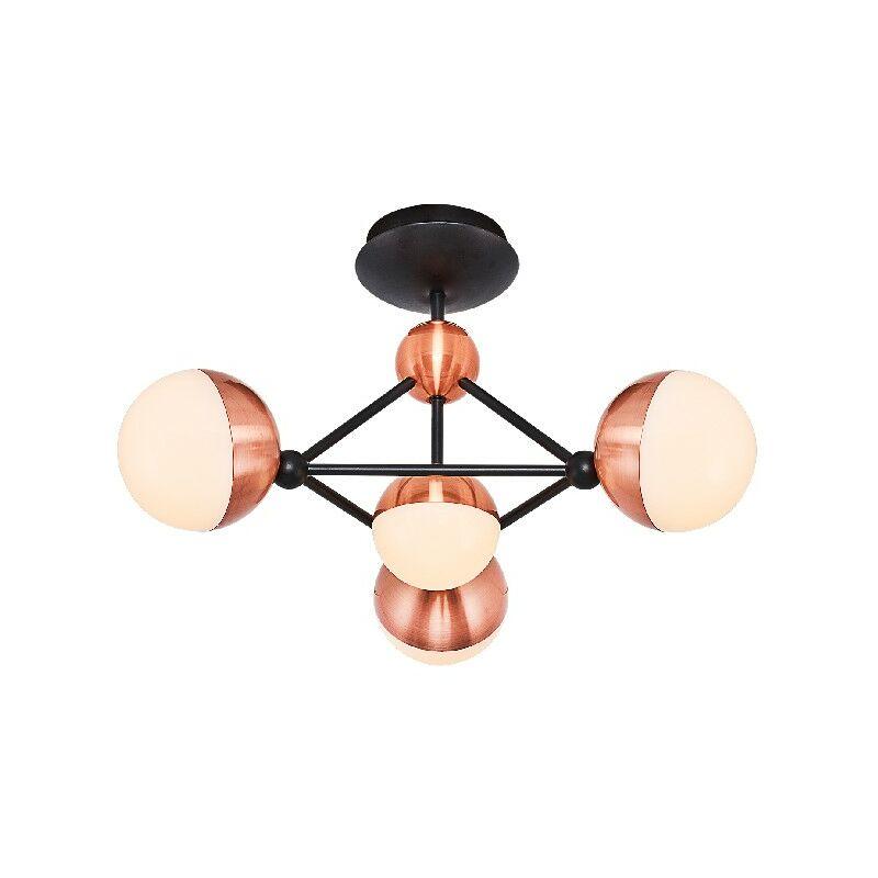 Homemania - Kosmos Deckenlampe - Deckenleuchte - zu Sphaere - von Wall - Kupfer, Schwarz aus Metall, Acryl, 52 x 52 x 32 cm, 4Led x Max 26W,