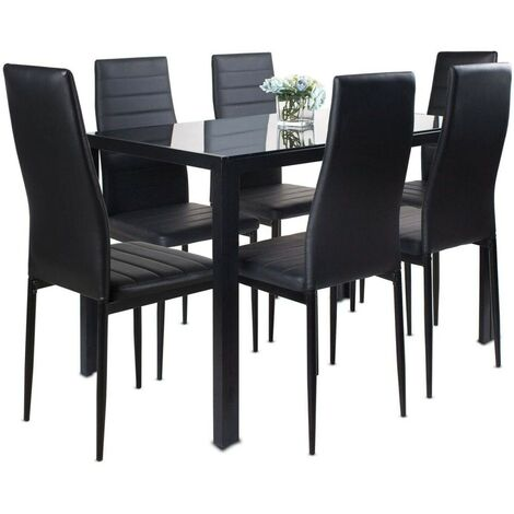KOSY KOALA ALL BLACK GLASS DINING TABLE AND 6 BLACK FAUX LEATHER CHAIRS (Black, Table with 6 chairs)