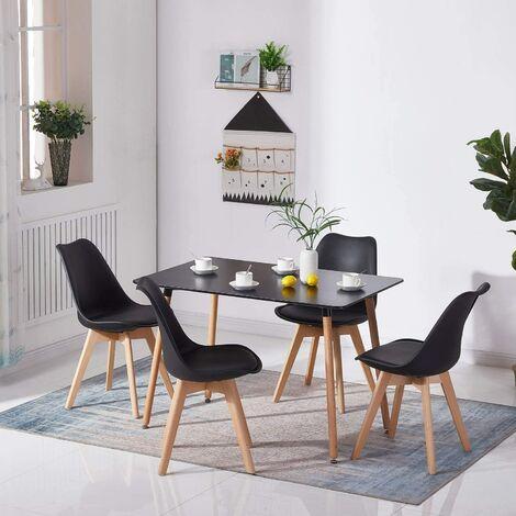 KOSY KOALA Black Wood Dining Table and 4 black Chairs Set Retro rectangle Dining Set Black Kitchen table set (Black table with 4 black chairs)