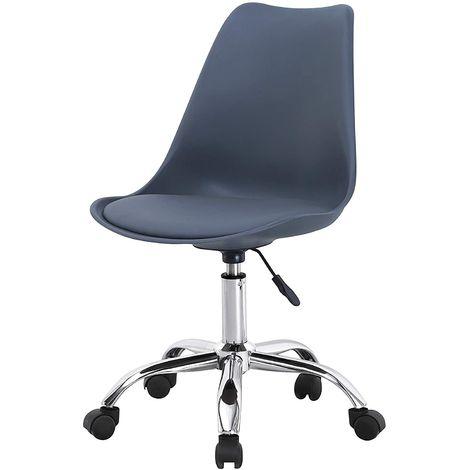 KOSY KOALA Cushioned Computer PC Desk dark grey Office Chair Adjustable Lift Swivel padded seat chrome legs grey office tulip chairs (Dark Grey)
