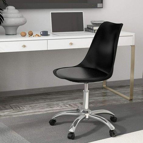 KOSY KOALA Cushioned padded seat Computer PC Desk black Office Chair Adjustable Lift Swivel padded seat chrome legs office chairs (Black)