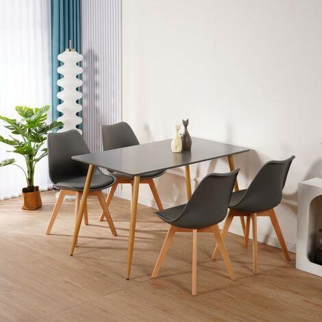 KOSY KOALA Dark Grey Wood Dining Table and 4 grey Chairs Set Retro rectangle Dining Set Grey Kitchen table set (Grey table with 4 grey chairs)