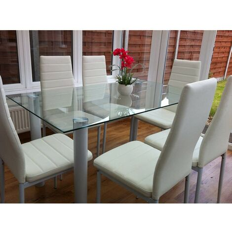 KOSY KOALA Glass Clear white Dining Table and 4 white Chairs Set of 4 Kitchen Dining Table Set (Clear/white table with 4 chairs)