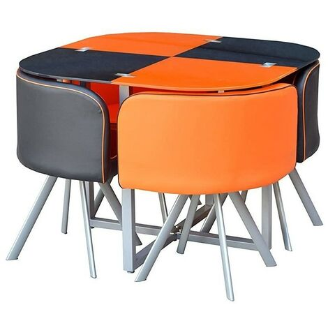 KOSY KOALA GLASS DINING TABLE AND 4 FAUX LEATHER CHAIRS,SPACE SAVER, BLACK AND WHITE (BLACK/ORANGE)