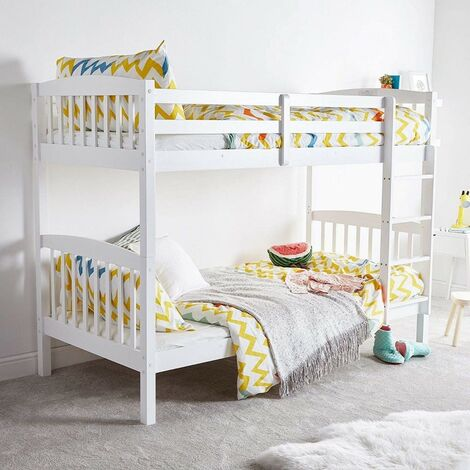 """main image of """"KOSY KOALA HEAVY DUTY WHITE WOOD BUNK BED WITH 2 MATTRESSES 3FT SINGLE BUNKBED SPLIT INTO 2 SINGLE FOR KIDS CHILDREN ADULTS"""""""