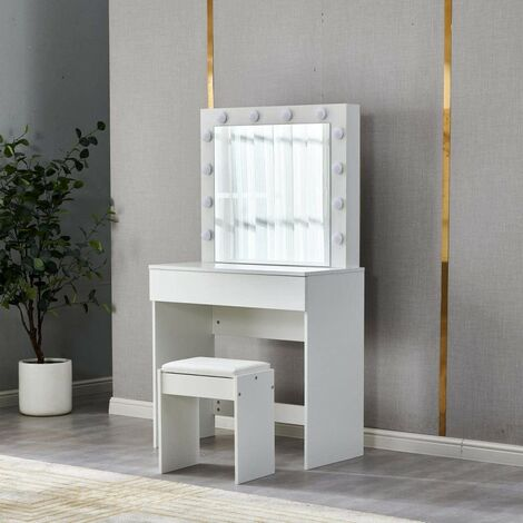 KOSY KOALA Hollywood white Dressing Table with LED Bulbs Lights Mirror, Makeup Vanity Table Dresser Set with a Large Drawer and stool for Bedroom