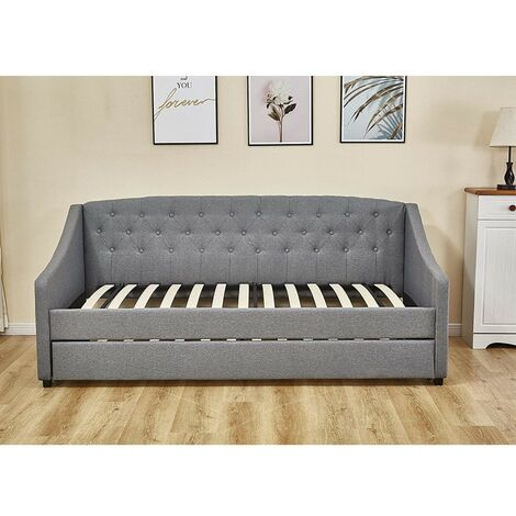 """main image of """"KOSY KOALA Linen fabric grey daybed sofabed with underbed trundle living room bedroom furniture guest day bed sofabed (Grey, Without matttresses)"""""""