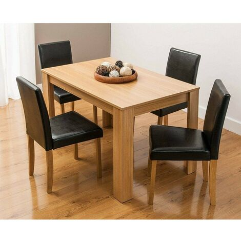 KOSY KOALA Modern wooden oak effect dining Table and 4 Black Faux Leather Chairs dining room set (table &4 chairs)