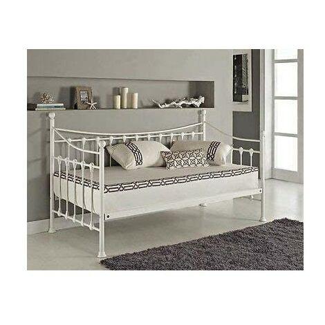 KOSY KOALA off White 3ft daybed frame metal guest day bed sofabed frame (Off White Daybed without under bed trundle)