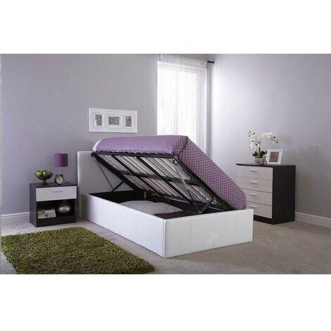 """main image of """"KOSY KOALA Ottoman Storage Bed Side Lift Opening white Colour (White, 4FT SMALL DOUBLE BED FRAME)"""""""