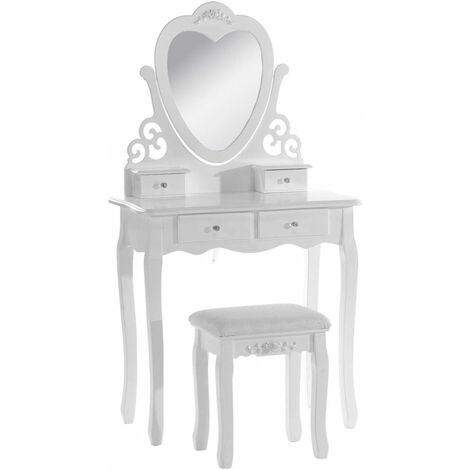 """main image of """"KOSY KOALA Pink/White Love Heart Wood Dressing Table With Stool and Adjustable Mirror Bedroom Furniture Vanity Table for Bedroom"""""""