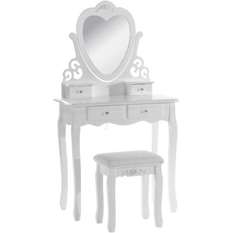 KOSY KOALA Pink / White love heart wood dressing table with stool and adjustable mirror bedroom furnitureVanity Table for Bedroom Girls Dressing Table