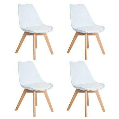 KOSY KOALA Set of 4 black Wooden Dining tulip Chairs Plastic Lounge Kitchen chairs (x4 Black tulip chiars)