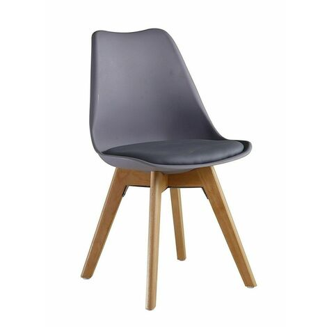 KOSY KOALA Set of 4 white or Grey Wooden Dining tulip Chairs Plastic Lounge Kitchen padded seat chairs