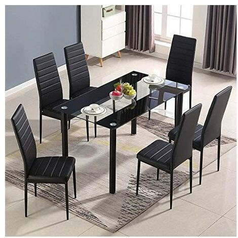 KOSY KOALA STUNNING BLACK GLASS KITCHEN DINING TABLE SET AND 6 OR 4 BLACK FAUX LEATHER CHAIRS
