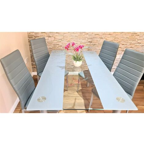 KOSY KOALA STUNNING GLASS GREY DINING TABLE SET AND 4 GREY FAUX LEATHER CHAIRS KITCHEN DINING TABLE (Grey/clear table and 4 grey chairs)