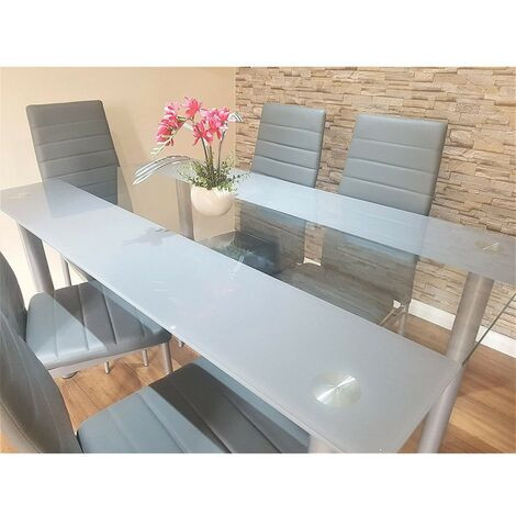KOSY KOALA STUNNING GLASS GREY DINING TABLE SET AND 6 GREY LEATHER CHAIRS (Grey/clear table and 6 grey chairs)