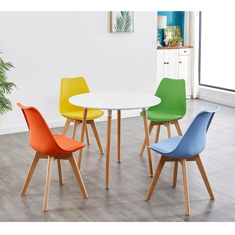 KOSY KOALA STYLISH CONTEMPORARY WOOD ROUND KITCHEN DINING TABLE AND 4 TULIP PADDED CHAIRS WHITE GREY BLACK MULTI COLOURED COLOURFUL ORANGE YELLOW GREEN BLUE (White table with coloured chairs)