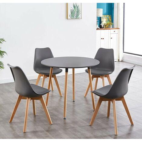 KOSY KOALA STYLISH CONTEMPORARY WOOD ROUND KITCHEN GREY DINING TABLE AND 4 DARK GREY PADDED TULIP CHAIRS (Dark Grey table and 4 chairs)