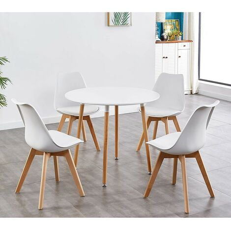 KOSY KOALA STYLISH CONTEMPORARY WOOD ROUND KITCHEN WHITE DINING TABLE AND 4 WHITE PADDED TULIP CHAIRS (White table and 4 chairs)