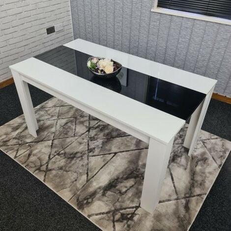KOSY KOALA White and black wood dining Table 117cm length high glossy wood dining Table (table only no chairs))