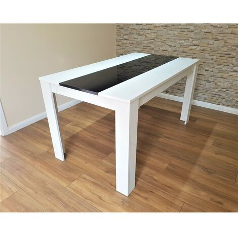 KOSY KOALA White and Black wood dining Table with 6 Metal Faux Leather chairs