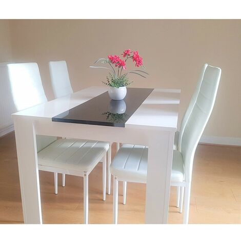 """main image of """"KOSY KOALA White Dining Table With 4 White Faux Leather Chairs High Gloss Wood Dining Table Set"""""""