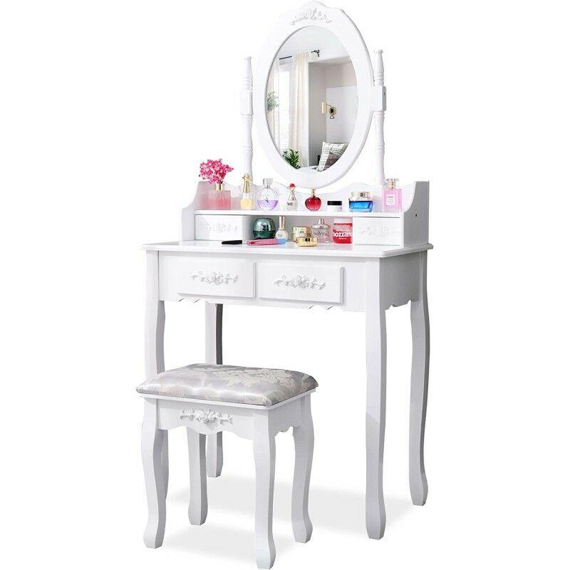 Kosy Koala White Rose Dressing Table Makeup Desk Dresser With Stool 4 Drawers And Adjustable Oval Mirror Bedroom Furniture 4j 2ame Kla2