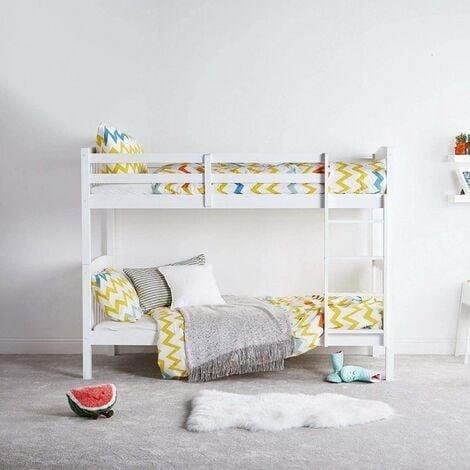 """main image of """"KOSY KOALA WHITE WOOD BUNK BED 3FT SINGLE HEAVY DUTY SPLIT INTO 2 SINGLE CHILDREN BEDS,SHAKER STYLE BUNKBED FOR KIDS CHILDREN"""""""