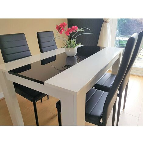 KOSY KOALA White wood dining Table 140cm length and 4 black Faux Leather chairs high gloss wood dining set (Table with 4 black chairs)