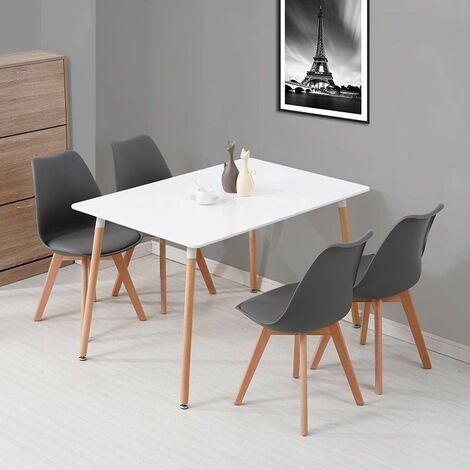 KOSY KOALA White Wood Dining Table and 4 grey Chairs Set Retro rectangle Dining Set White and Grey Kitchen table set (White table with 4 grey chairs)