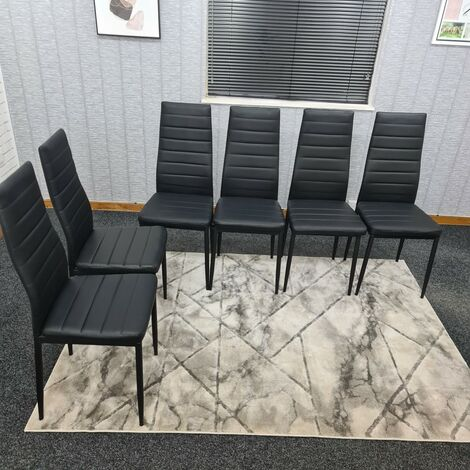 KOSY KOALA X6 BLACK FAUX LEATHER CHAIRS KITCHEN DINING CHAIRS