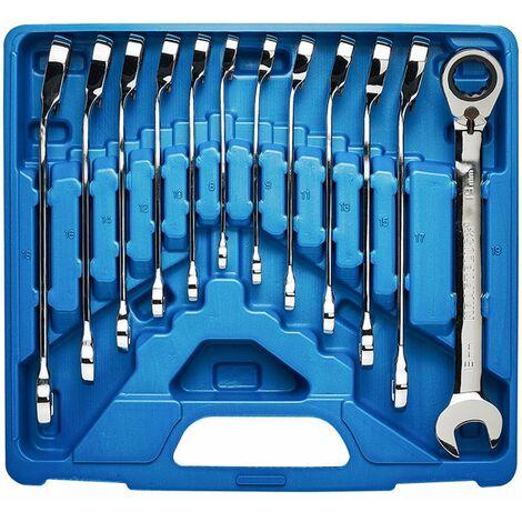 KRAFTPLUS® K.130-9212 Jeu combiné de clés mixtes à cliquet réversible avec anneau de blocage 8-19 mm - 12 pcs