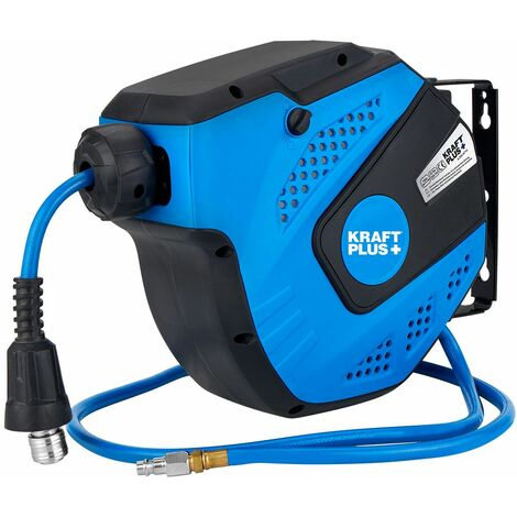 KRAFTPLUS® K.932-9710 Enrouleur tuyau à tambour fermé pour air comprimé ¼″, 10 m, auto-rétractable